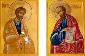 Иконы святых апостолов Петра и Павла из иконостаса церкви Преображения Господня в д.Радумля, иконописец Евгений